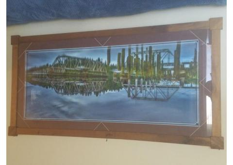 Art:  Framed Photo of Swing through truss bridge:  Coos Bay